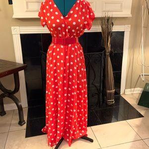 Beautiful polka dot red/orange faux wrap dress
